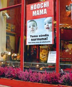 Alkohoolivastase kampaania plakat surnud imikuga