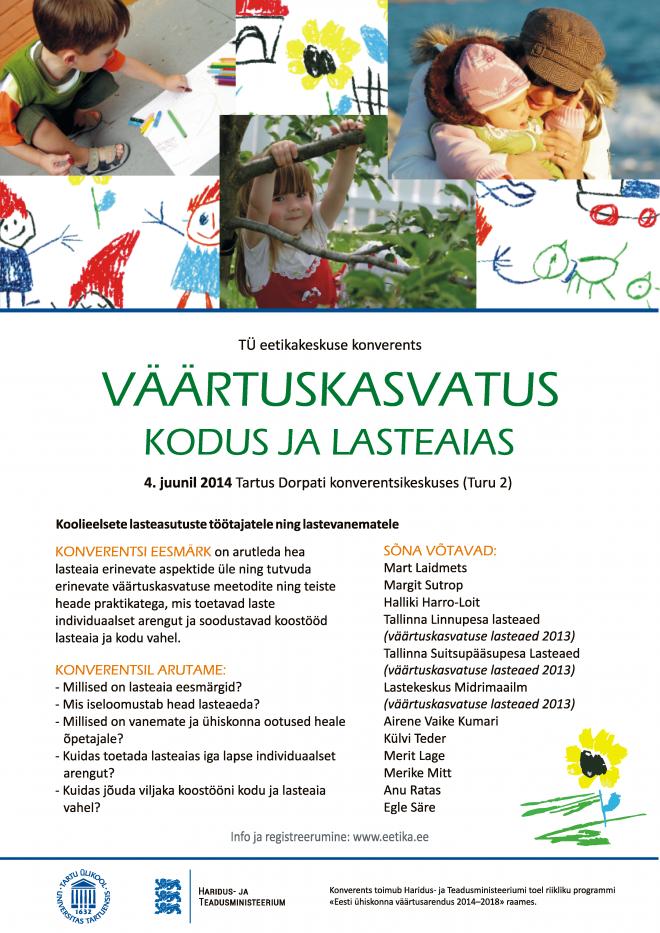 """Konverentsi """"Väärtuskasvatus kodus ja lasteaias"""" plakat"""